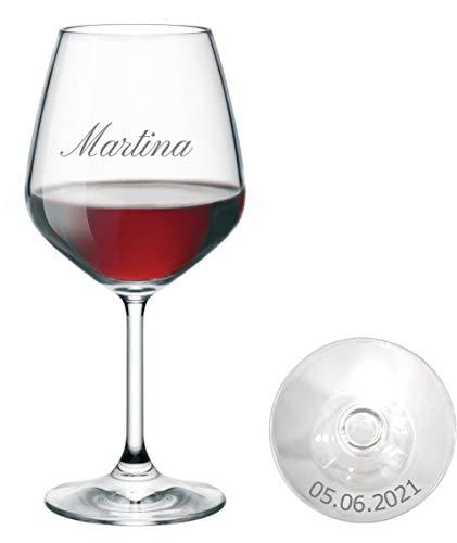 Generico Bicchiere Vino Personalizzato - Calice Vino Rosso Inciso - Personalizzabile con Nome, Data e Caratteri Diversi (1 Pezzo)