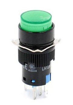 Woljay 16mm Commutateur à bouton poussoir Interrupteur Ronde LED Lampe Vert Lumière DC 12V SPDT 5Pin 3 Pcs