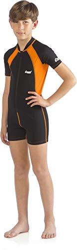 Cressi Kinder Kid Wetsuit 1.5 mm Shorty Neoprenanzug Ultra Stretch Neopren, Scwarz/Orange, XL (5/6 Jahre)