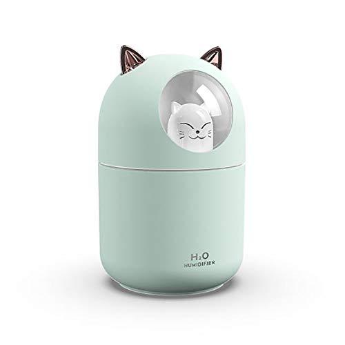 LIXUE Humidificador de Oso, Humidificador Ultrasónico con Ozonizador y Aromaterapia, más de 8 Horas de Autonomía, Capacidad 300ML,Verde