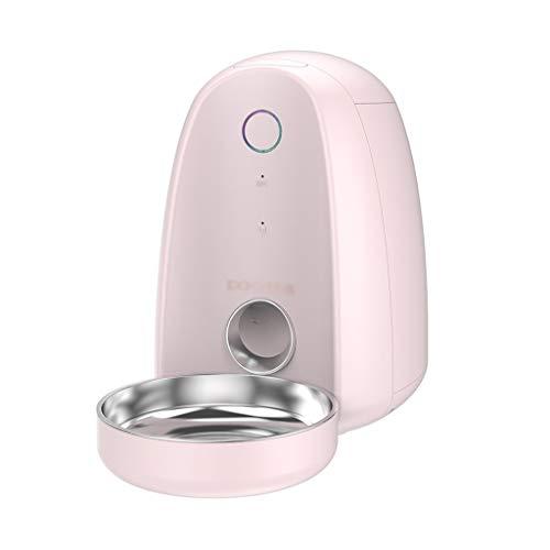 Hundenapf Hunde Katzen Lebensmittel-Dispenser automatische Haustier-Zufuhr-Wasser-Zufuhr Timer Voice Recorder WiFi Smart Phones App Steuerung Medium Katzenapf (Color : Pink)