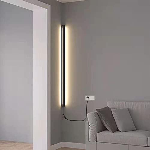 HIGHKAS Aplique de Pared de Esquina con Enchufe Lámpara de Pared Decorativa de Fondo de Tira Larga LED de Interior Moderno con Cable de alimentación de 1,2 m e Interruptor Aplique Simple de alumini