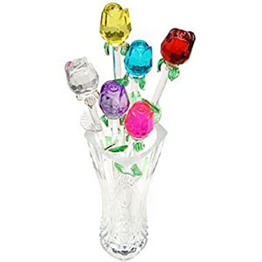 13 Inch Glass Roses - Set of 6 Assorted Colors