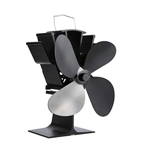 Wolfberrymetal Thermal Power Fireplace Fan Heat Powered Wood Stove Fan For Wood/Log Burner/Fireplace Eco Friendly Four-Leaf Fans(Black)