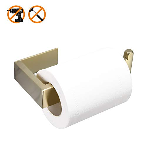 WOMAO Einfach Toilettenpapierhalter Toilettenrollenhalter Ohne Bohren Selbstkleben, WC Rostfrei Gebürstet Gold Finished Edelstahl Konstruktion