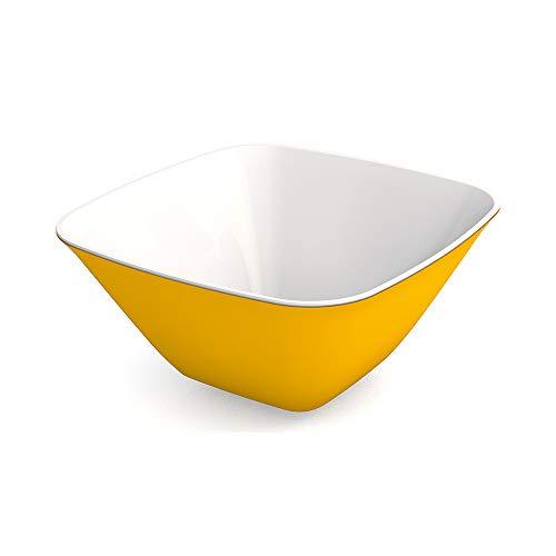 Ornamin Schale 900 ml gelb, Melamin | leichte, eckige Kunststoffschale | Alltags-Geschirr für zu Hause, Camping, Picknick, BBQ, Gemeinschaftsverpflegung, Großküchen | Dessertschale, Suppenschüssel, Beilagenschale, Müslischale, Salatschüssel