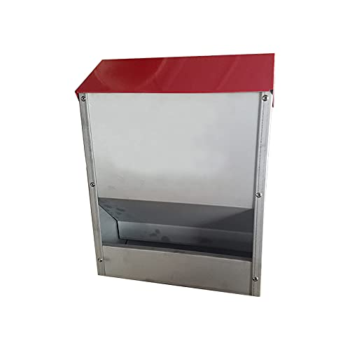 Sunshine&water Galvanized Poultry Feeder Holds 30lbs of Feed Chicken Feeders Rat Proof Hanging Chicken Feeder with Lid Weatherproof Outdoor Coop Food Dispenser Space Saver Wall Feeder