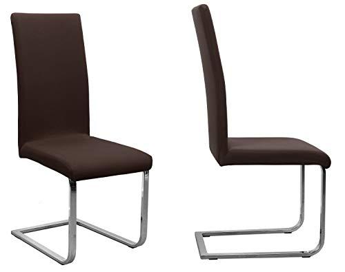 BEAUTEX 2er Set Jersey Stuhlhusse (Farbe wählbar), elastische Uni Stretch-Husse aus Baumwolle Bi-Elastisch (Dunkelbraun)