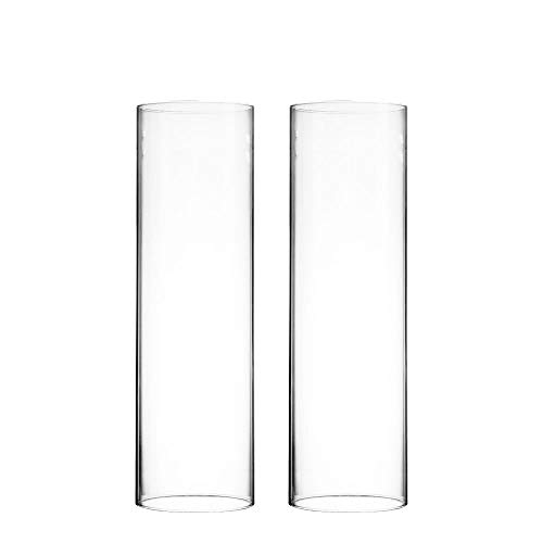 CYS EXCEL Various Size Hurricane Candleholders, Chimney Tube, Glass Cylinder Open Both Ends, Open Ended Hurricane, Candle Shade, Glass Shade Candleholders Set of 2 (4