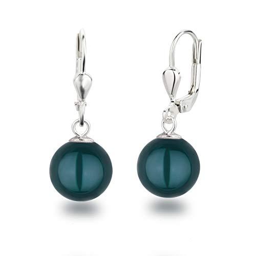 Schöner-SD Perlenohrringe Ohrhänger 925 Silber mit 10mm großen runden Perlen tahiti look pearl
