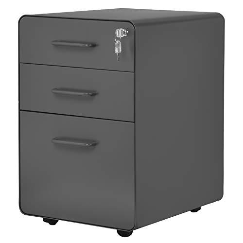 Flieks Stahl Rollcontainer Bürocontainer Rollschrank Schubladenkommode Büroschrank, Rolling Kabinett mit 3 abschließbaren Schubladen, für Hause & Büro voll montiert (Grau)