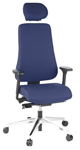 hjh OFFICE 608410 Profi Bürostuhl PRO-TEC 400 Stoff Blau Drehstuhl ergonomisch, bis 150kg belastbar, hohe Rückenlehne