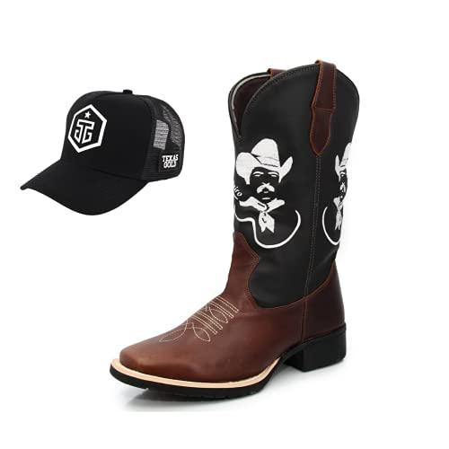 Bota Texana Masculina Texas Gold Tiao Carreiro com Boné Trucker Exclusivo Tamanho:38;Cor:Marrom