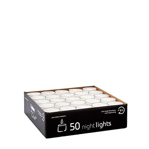 Qult Farluce(TM) Nightlights weiß - Teelichter in Kunststoffhülle und Premiumqualität - Rußfrei - ca. 8 Stunden Brenndauer - Gastro Großpackung - Sparpack - unbeduftet, Teelichter:50 Nightlights