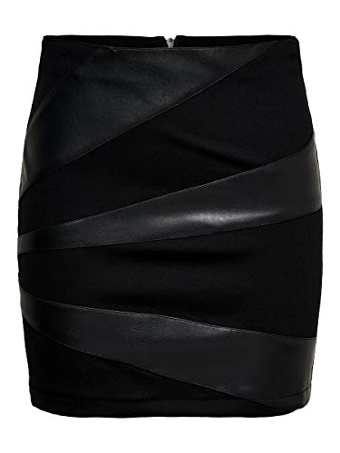 ONLY Damen Onldinas Faux Leather Skirt OTW Rock, Schwarz (Black Black), Large (Herstellergröße: 40)