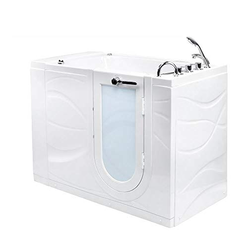 Ella's Bubbles OAZ3052D-R-D Ella Zen 30'x 52' Air and Hydro Massage, Digital Control Acrylic Walk-In Bathtub, Right Outward Swing Door, 2' Dual Drain, White