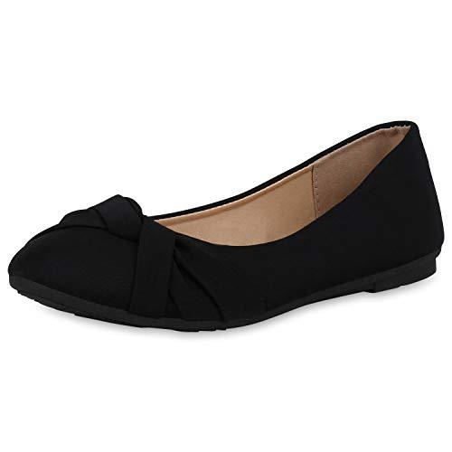 SCARPE VITA Klassische Damen Ballerinas Basic Slipper Flats Slip On Schuhe Flache Abendschuhe Bequeme Schlupfschuhe 164662 Schwarz Textil 37
