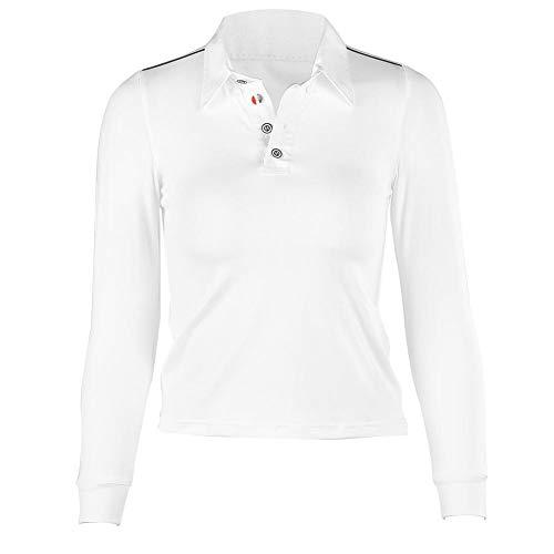Camiseta de Polo, Manga Larga Camiseta Deportiva de Polo para Montar a Caballo para niños, Camisetas de Corte Suave para Correr en el Campamento de Golf(140-Blanco)