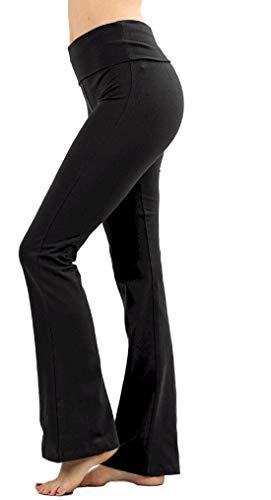 Zenana Women Fold Over Waist Cotton Stretch Flare Leg Boot Cut Yoga Pants Leggings Black Small