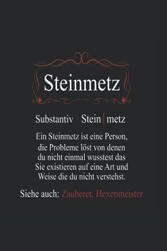 Steinmetz ein Mensch der Probleme löst: Notizbuch A5 6x9 Zoll 120 linierte Seiten Steinmetz Notizheft Steinmetzer Beruf Geschenk Stein Handwerker Steine