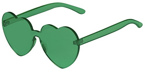 One Piece Heart Shaped Rimless Sunglasses Transparent Candy Color Eyewear(Green)