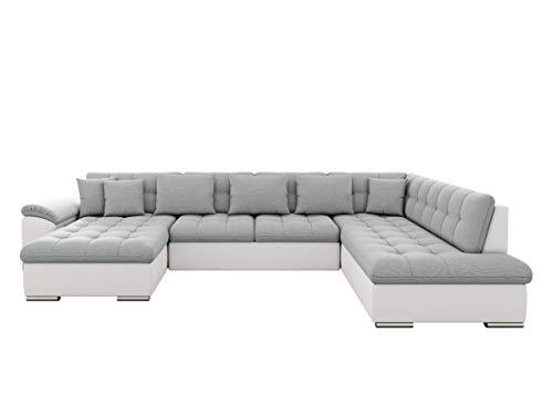 Eckcouch Ecksofa Niko! Design Sofa Couch! mit Schlaffunktion! U-Sofa Große Farbauswahl! Wohnlandschaft! (Ecksofa Links, Soft 017 + Bahama 31)