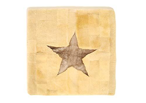 Lamm-/fårskinn krammatta, ca 100 x 100 cm, champagne – stjärna haselnöt