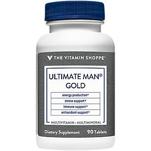 Ultimate Man Gold Multivitamin, High Potency Multi – Energy Antioxidant Blend, Daily Multimineral Supplement for Optimal Men's Health, Gluten Dairy Free (90 Tablets) by The Vitamin Shoppe