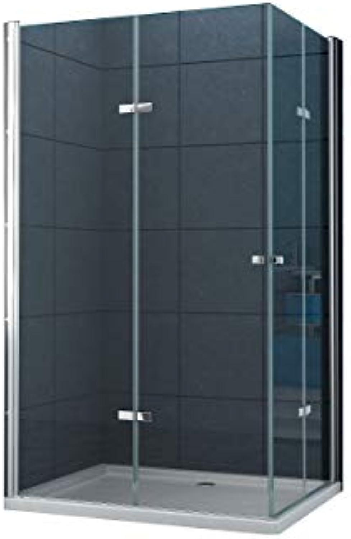 Eckeinstieg Duschkabine Dusche VIGO 100 x 90 x 200cm   8 mm Inkl. Duschtasse
