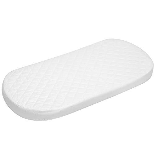 Big Oshi Baby Bassinet Mattress - 16' x 32' x 2' - Waterproof Exterior - Thick, Soft, Breathable Foam Interior - Oval Shaped, Comfy, Padded Design, Also Fits Portable Bassinets