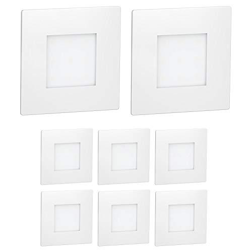 ledscom.de LED Treppen-Licht FEX Treppen-Leuchte, weiß, eckig, 8,5x8,5cm, 230V, warmweiß, 8 Stk.