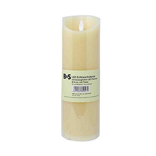 LED Echtwachskerze mit beweglicher Flamme ca. 5-6 Stunden Timer mittel H 30 cm