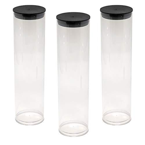 "Prestige Import Group - 2"" x 8.25"" Transparent Clear Plastic (PETG) Storage Tubes with Black Lid - 5 Pack"