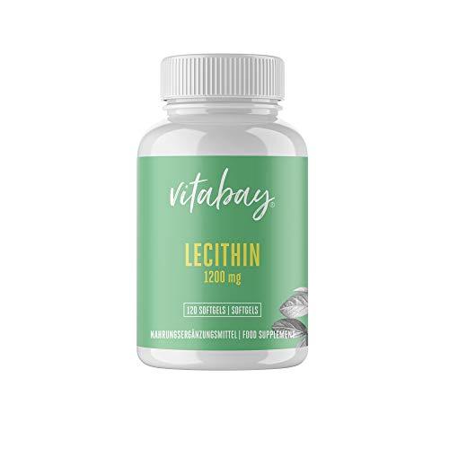 Lecitina Vitabay (1.200 mg   120 Capsule Molli) • Capsule di Lecitina con Vitamina E Ottimizzata, Attivata e Micronizzata • Prodotto in Germania, ad Alto Dosaggio e Senza Ingegneria Genetica