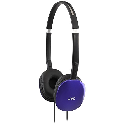 31Zbwbg6TuL - JVC Violet Flat and Foldable Colorful Flats On Ear Headphone with 3.94 foot Gold Plated Phone Slim Plug HAS160V