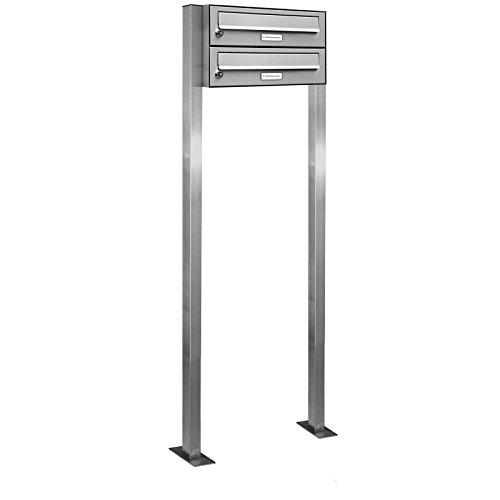 AL Briefkastensysteme 2er V2A Edelstahl Stand Briefkasten rostfrei als Doppel-Briefkasten-Anlage Freistehend DIN A4 in 2 Fach Postkasten Design modern