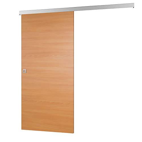inova Holz-Schiebetür 880 x 2035 mm Buche Alu Komplettset mit Lauf-Schiene und Quadratgriff