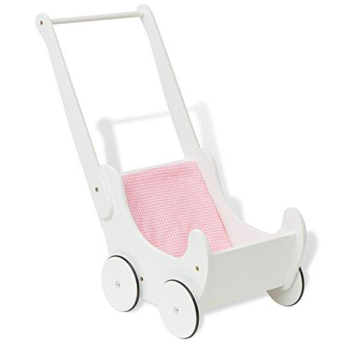 vidaXL Holz Puppenwagen mit Matratze Baby Kinder Lauflernwagen Holzpuppenwagen