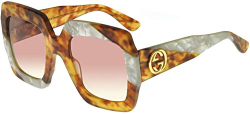 Gucci Gafas de Sol GG0178S BLONDE HAVANA WHITE PEARL/PINK SHADED 54/25/145 mujer