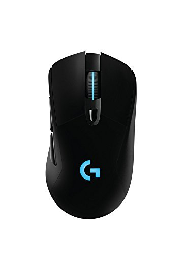 Logitech G703 Lightspeed Wireless Gaming Mouse W/Hero 16K Sensor, PowerPlay Compatible, Lightsync RGB, Lightweight 95G+10G Optional, 100-16, 000 DPI, Rubber Side Grips - Black