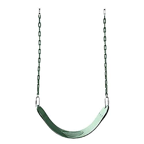 """Swing-N-Slide Heavy Duty Green Swing Seat - 58"""" Vinyl Coated Chain Backyard Playground Swing for Replacement or Accessories"""