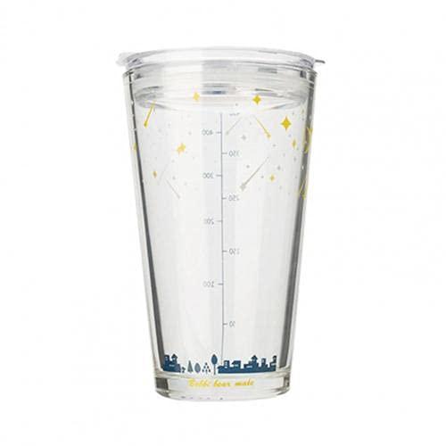 miaoyu Botella de agua deportiva de 450 ml, graduada con pajita resistente a roturas, preciosa taza de jugo para el hogar o la botella de cristal (color: estrella)