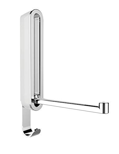 WENKO Klapphaken Premium Sigma, klappbarer Wandhaken zum Anbohren, mit Abrutschsicherung, gutes Design, Kunststoffgehäuse und stabiler Metallhaken, 2,5 x 18 x 2,5 cm, Weiß