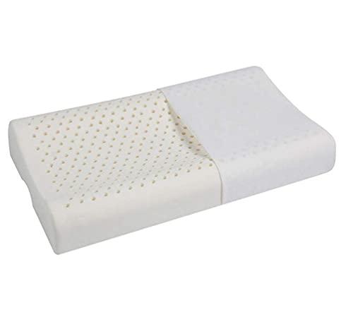 HMMHHE Almohadas de cuello para dormir Premium Todas las almohadas naturales de látex, almohada de diseño de orificio de ventilación ortopédico bajo para el dolor de cuello y protección cervical, cubi