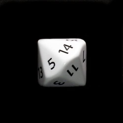 28mm Opaque blanc D14 w  noir Numbers 1-14 Dice by KopFaible Games
