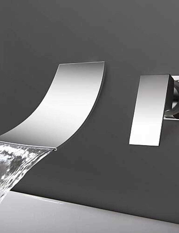 Mainstream home LPZSQ Tippen Sie an der Wand befestigt, einseitiger Griff Zwei Bohrungen in Chrom Waschbecken Wasserhahn  1273