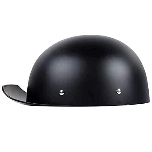 qwert Casco retro de motocicleta con forma de calavera, estilo gorra de béisbol, para hombre, mujer, aprobado por DOT (L-XL, 54-60 cm)