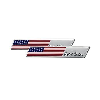 3D Aluminum Alloy American US Flag Decal 2PCS 3.8  X 0.6  Patriotic Stars Stripe USA Flag Car Stickers for Laptop/Car/Truck/Window/Bumper