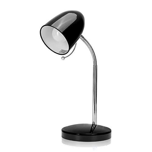 Leselampe Retro Schreibtischlampe Tischlampe Arbeitsplatzlampe Nachttischleuchte mit Gelenk-Arm aus Metall, Schwarz