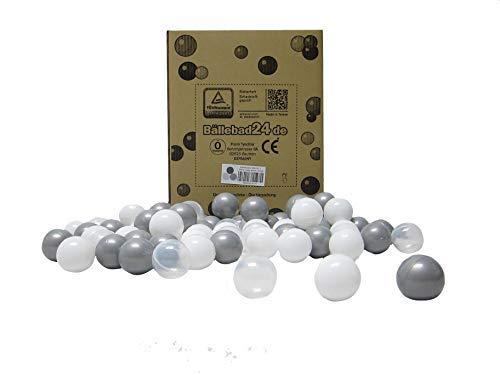 Bällebad24 - 200 bolas para piscina de bolas en mezcla de cristal gris y blanco, calidad de juego.